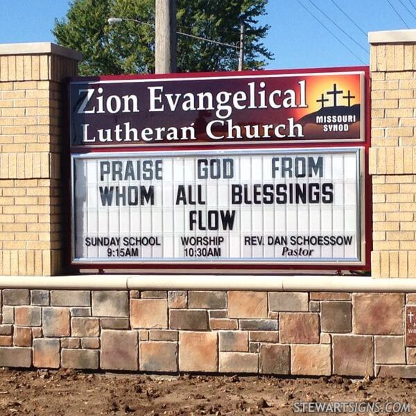 Church Sign for Zion Lutheran Church