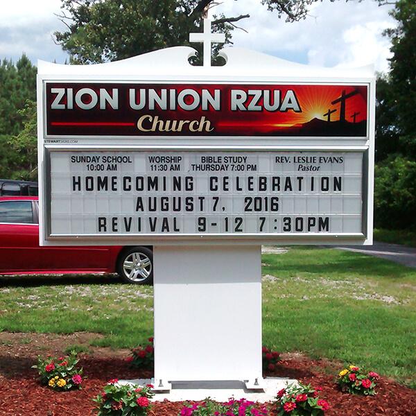 Church Sign for Zion Union Rzua Church