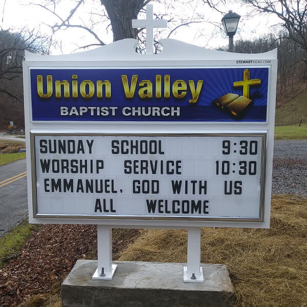 Church Sign for Union Valley Baptist Church