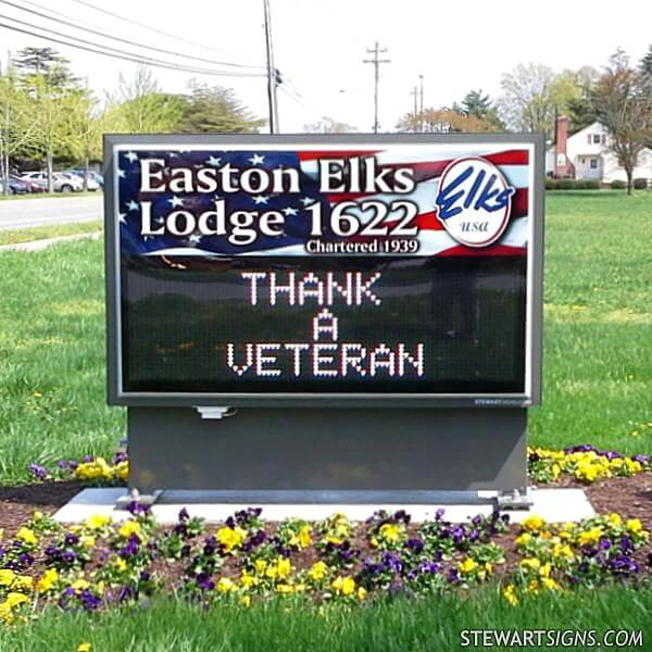 Civic Sign for Easton Elks Lodge 1622