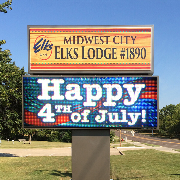 Civic Sign for Midwest City Elks Lodge #1890