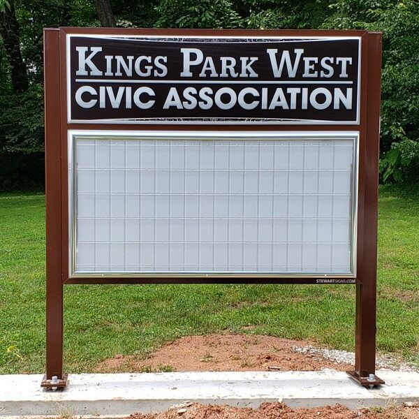 Civic Sign for Kings Park West Civic Association