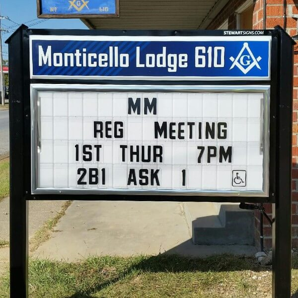 Civic Sign for Monticello Lodge 610