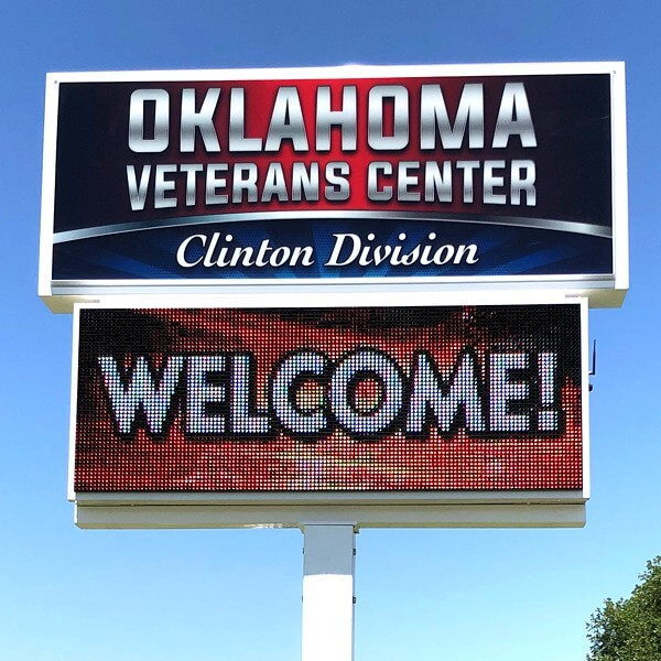 Municipal Sign for Oklahoma Veterans Center - Clinton Division