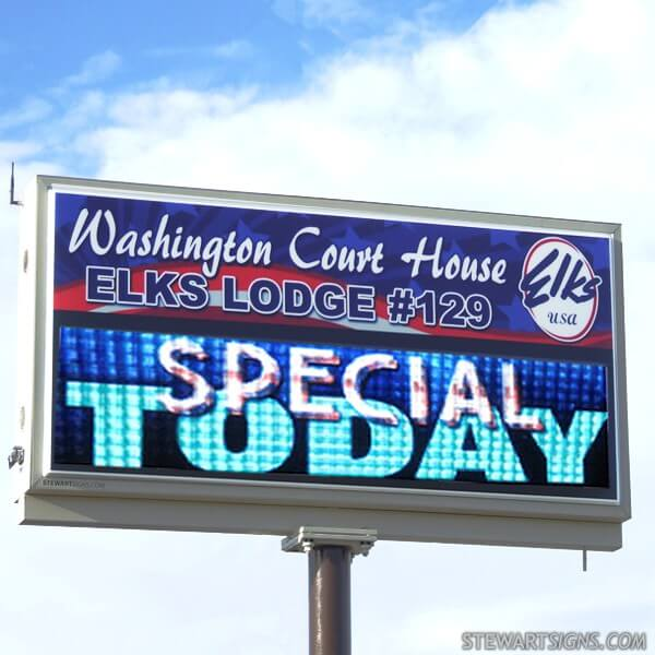 Civic Sign for Washington Court House Elks #129