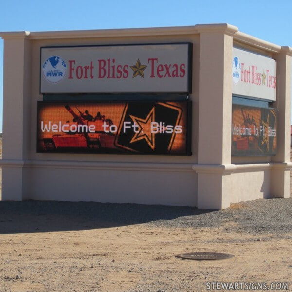 Military Sign for Fort Bliss MWR Px Area