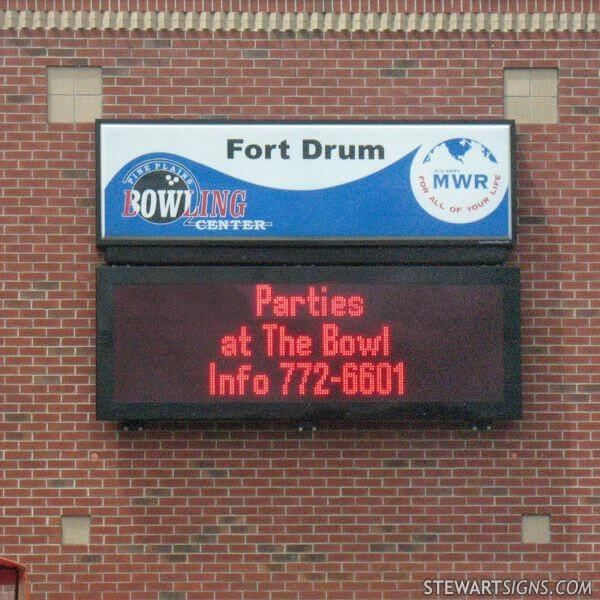 Military Sign for Fort Drum MWR Bowling Center