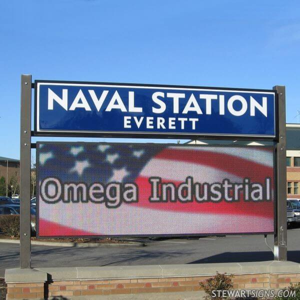 Military Sign for Naval Station - Everett