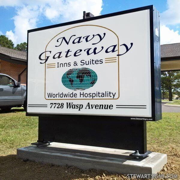 Military Sign for Navy Gateway Inn, MWR, Nsa Millington