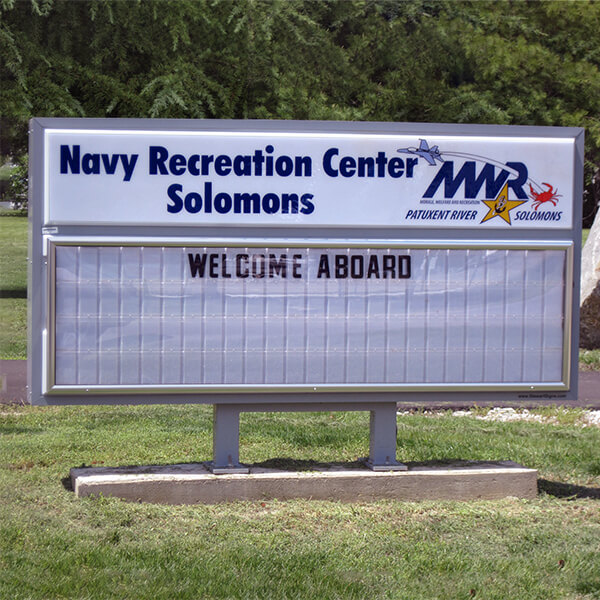 Military Sign for MWR Navy Recreation Center, Solomons