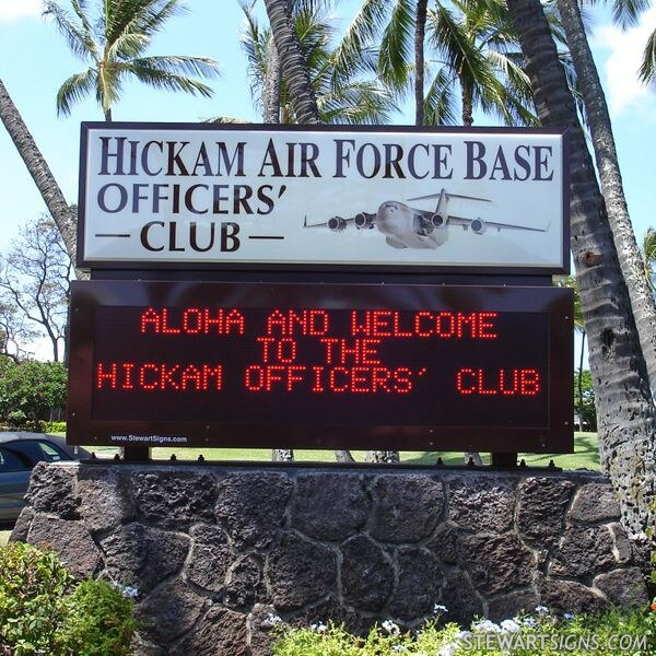 Military Sign for Hickam AFB Officers' Club