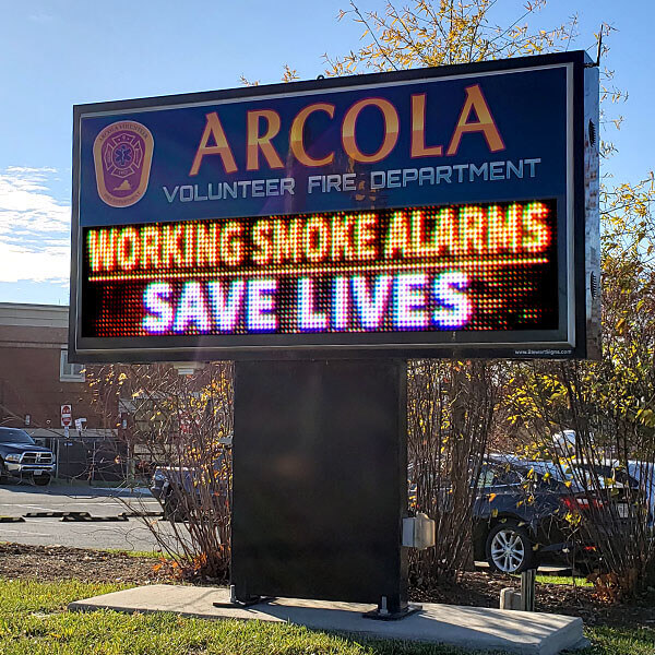 Municipal Sign for Arcola Volunteer Fire Department