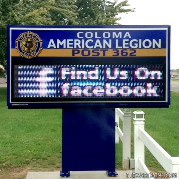 Civic Sign for Coloma American Legion Post 362
