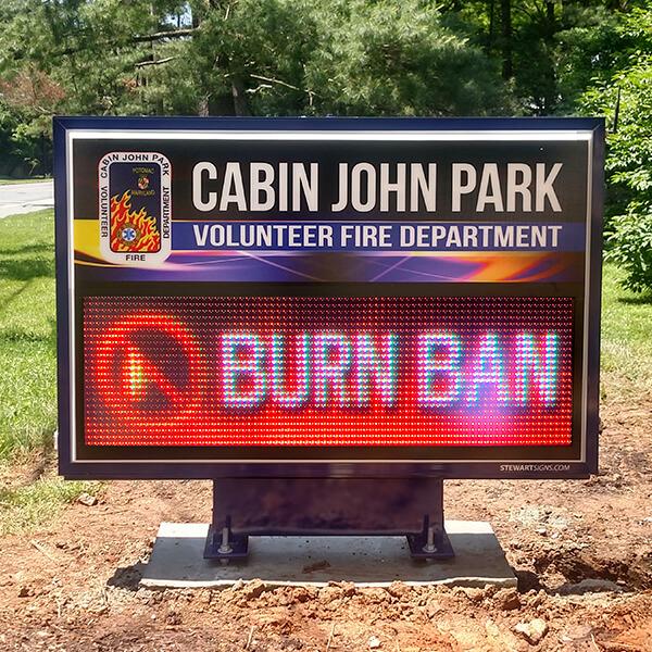 Municipal Sign for Cabin John Park Volunteer Fire Department