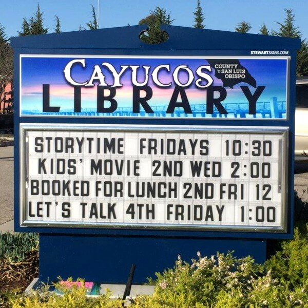 Municipal Sign for Cayucos Branch Library