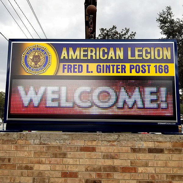 Civic Sign for Fred L. Ginter American Legion Post 168