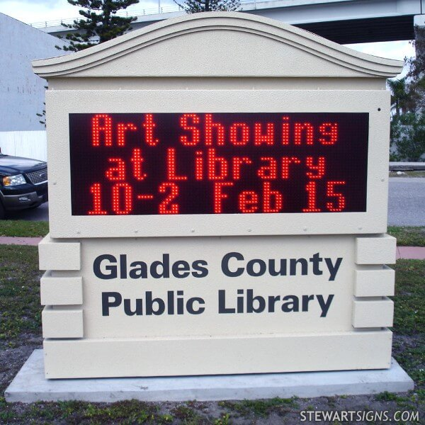 Municipal Sign for Glades County Public Library