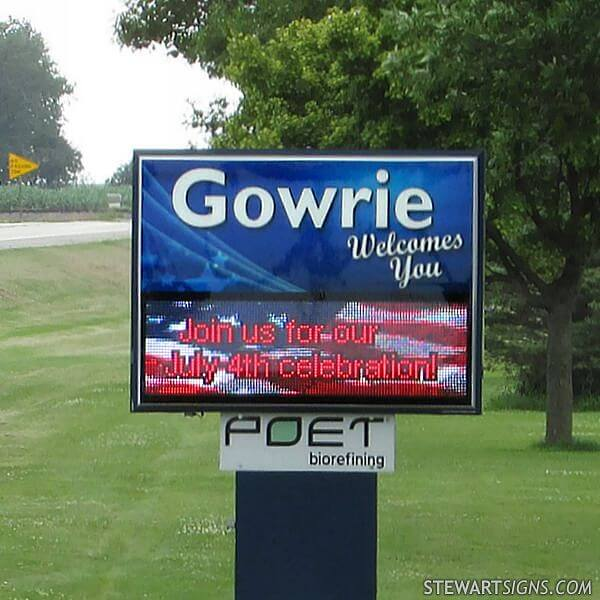Municipal Sign for Gowrie Development Commission