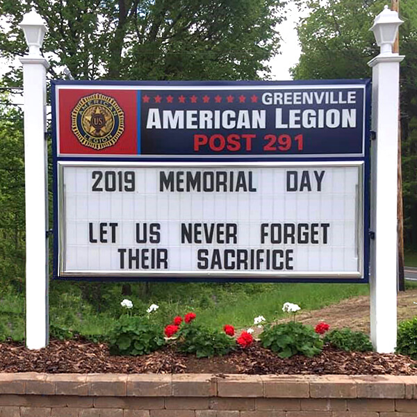 Civic Sign for Greenville American Legion Post 291