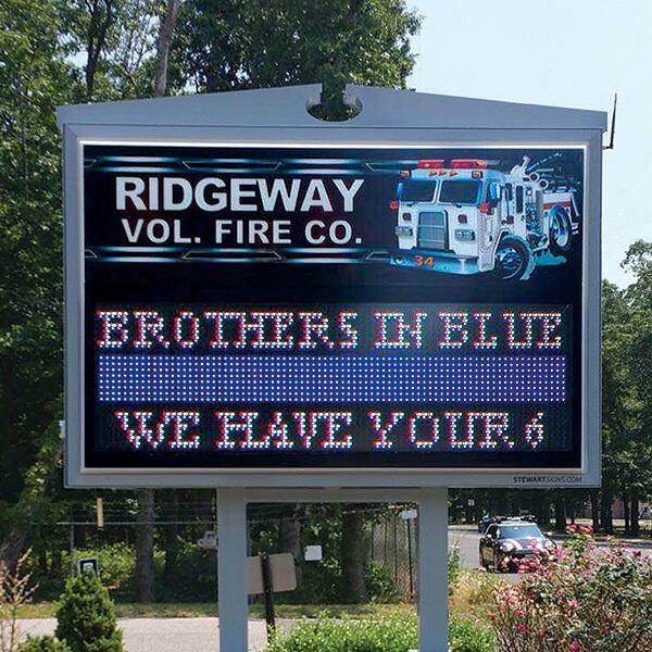 Municipal Sign for Ridgeway Volunteer Fire Department