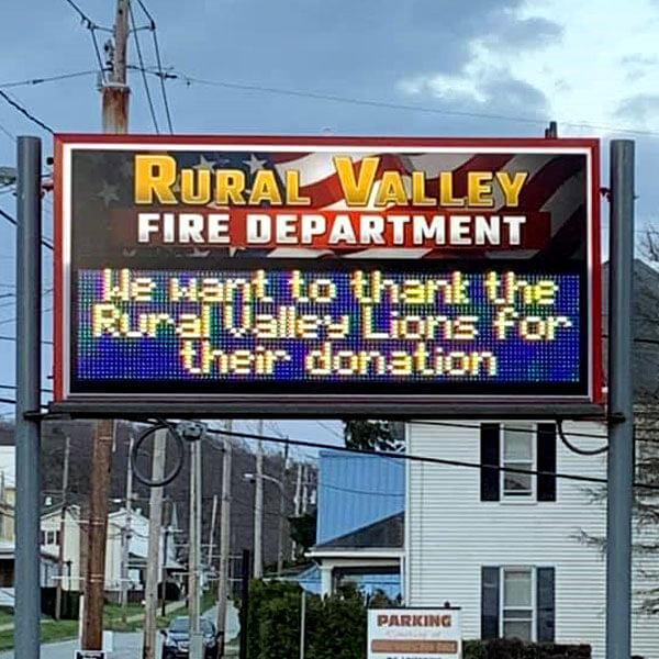Municipal Sign for Rural Valley Fire Department