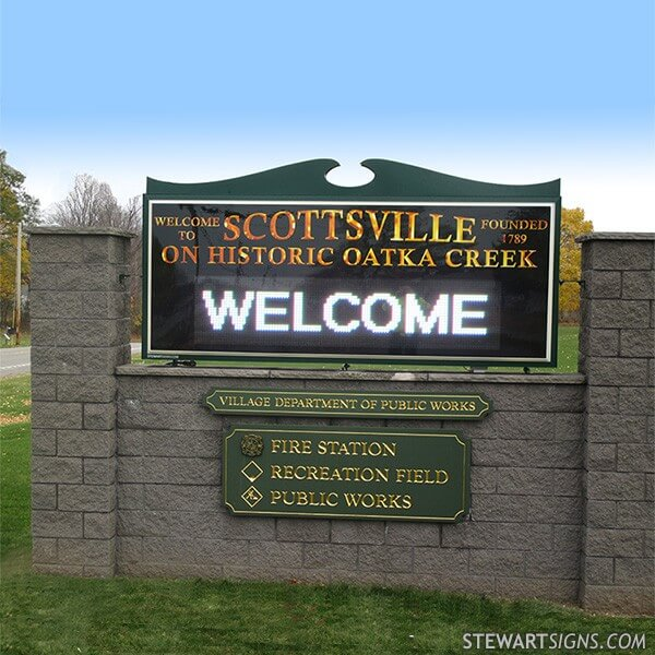 Municipal Sign for Scottsville On Historic Oatka Creek