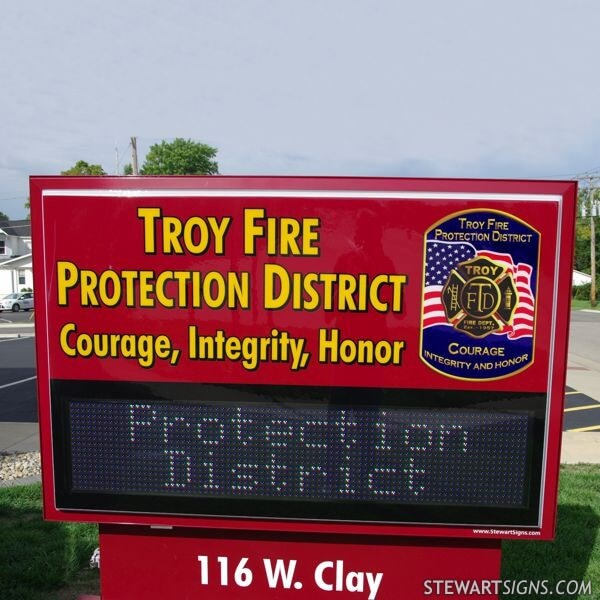 Municipal Sign for Troy Fire Protection District
