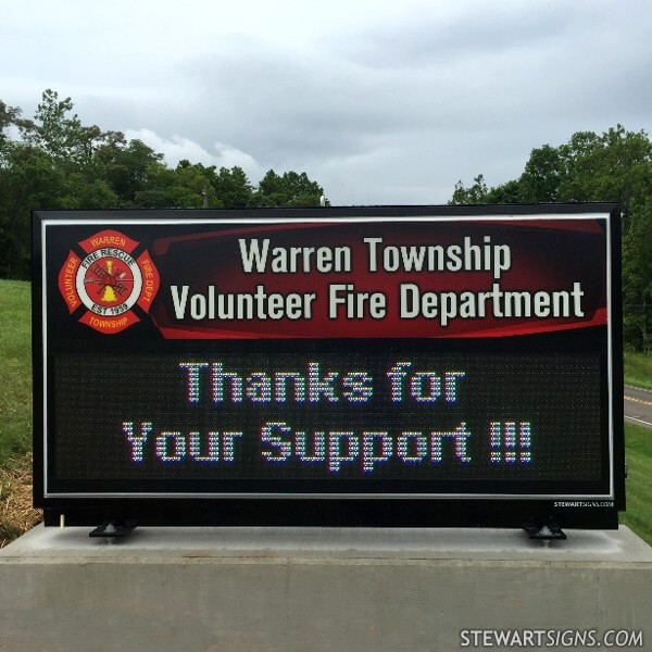 Municipal Sign for Warren Township Volunteer Fire Department
