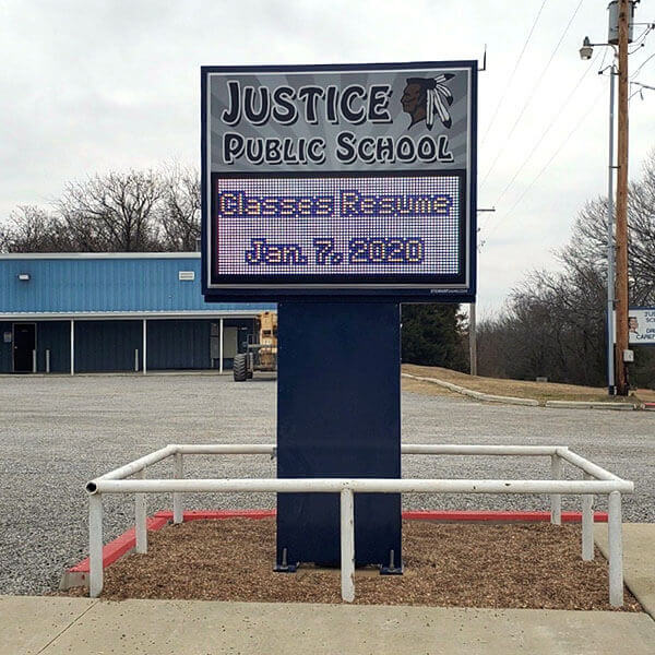 School Sign for Justice Elementary School