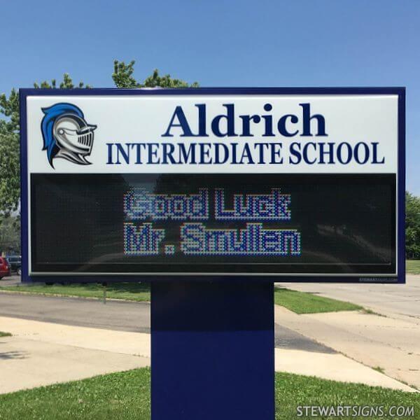 School Sign for Aldrich Intermediate School