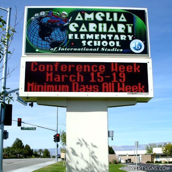 School Sign for Amelia Earhart Elementary School