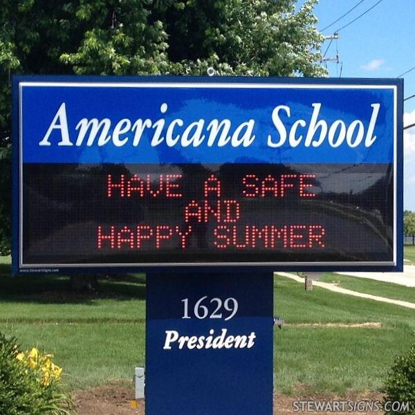 School Sign for Americana Intermediate School