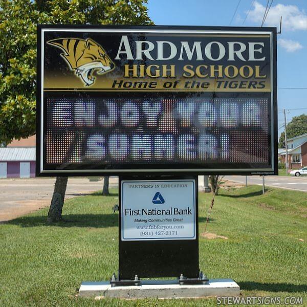 School Sign for Ardmore High School