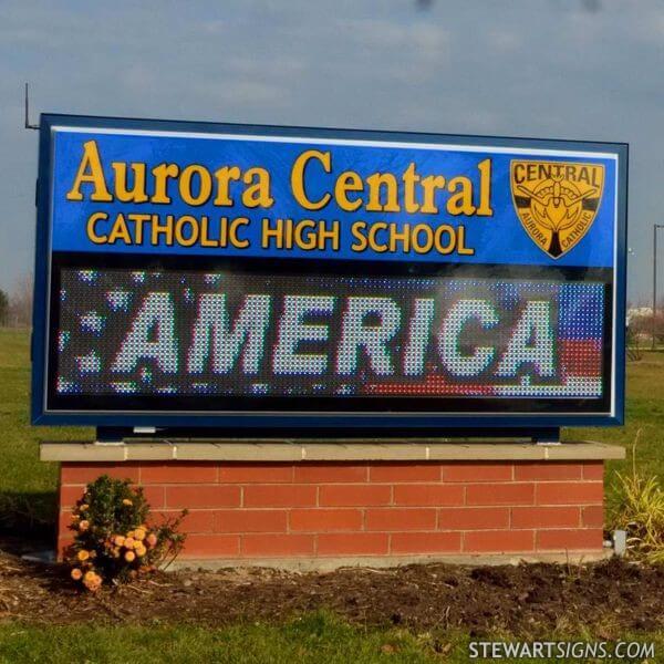 School Sign for Aurora Central Catholic High School