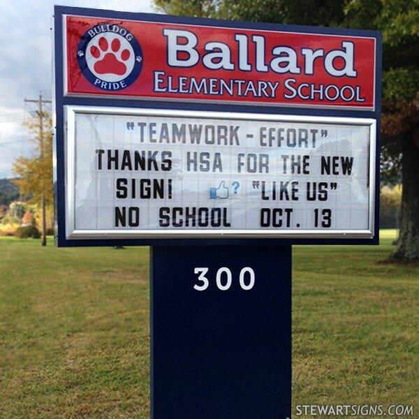 School Sign for Ballard Elementary School