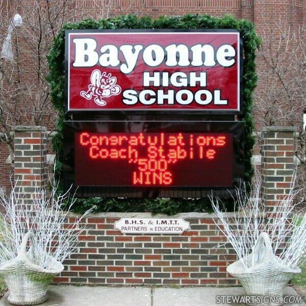 School Sign for Bayonne High School