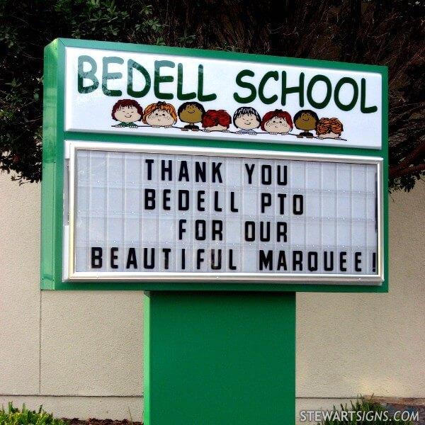 School Sign for Bedell School