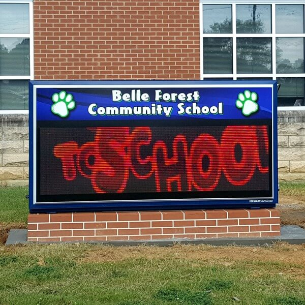 School Sign for Belle Forest Community School