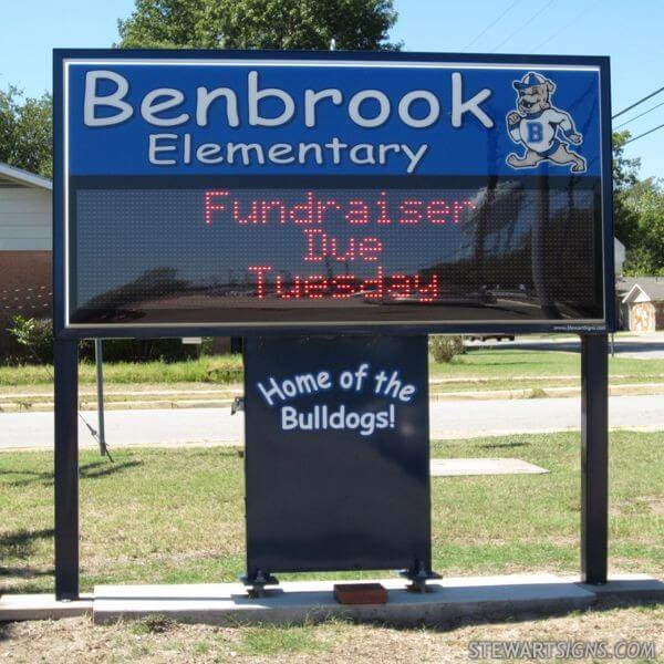 School Sign for Benbrook Elementary