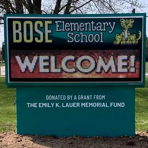 School Sign for Bose Elementary School