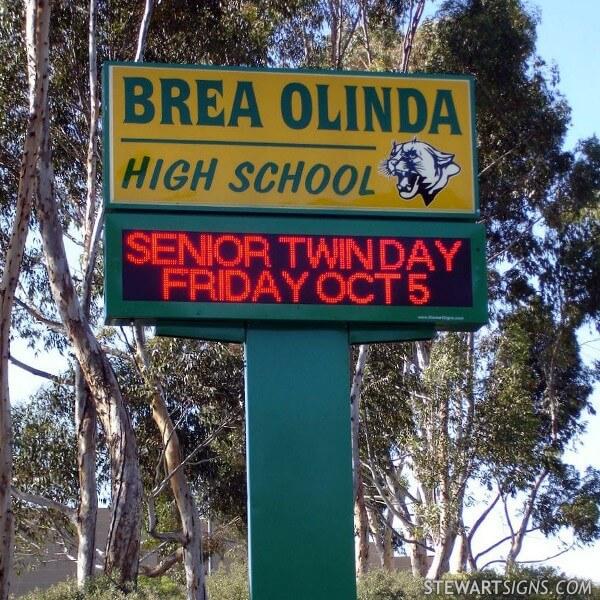 School Sign for Brea Olinda High School