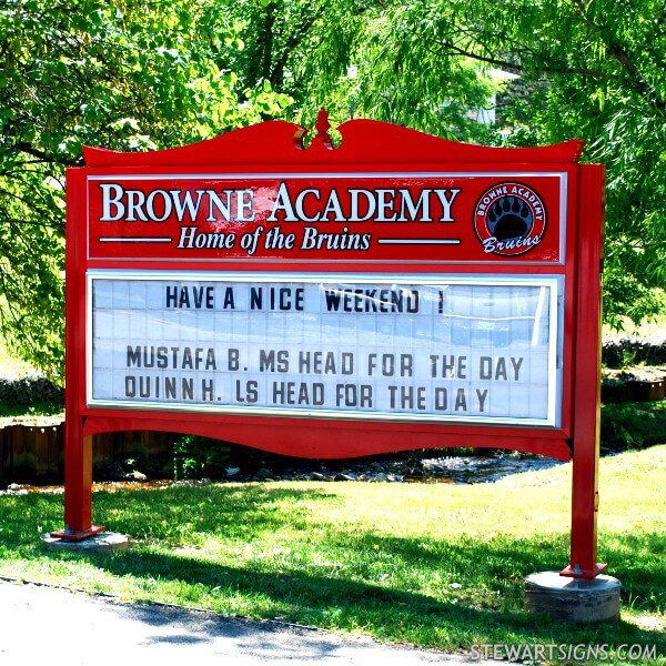 School Sign for Browne Academy