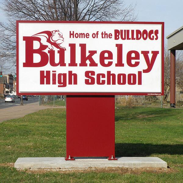 School Sign for Bulkeley High School