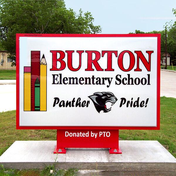 School Sign for Burton Elementary School