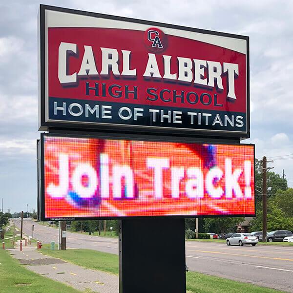School Sign for Carl Albert High School