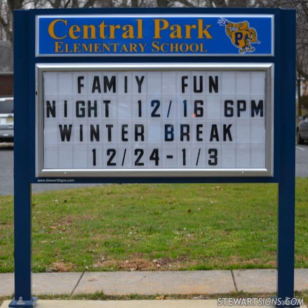 School Sign for Central Park Elementary School
