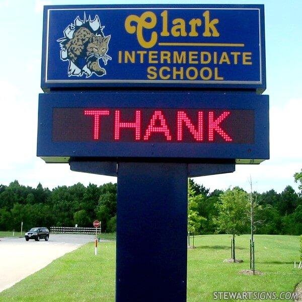 Houston, TX. School Sign for Clark Intermediate School