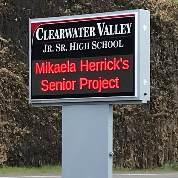 School Sign for Clearwater Valley Junior Senior High School