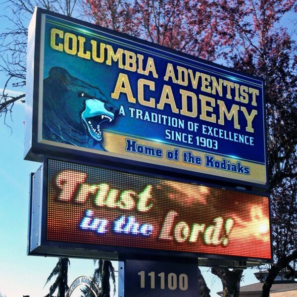 School Sign for Columbia Adventist Academy
