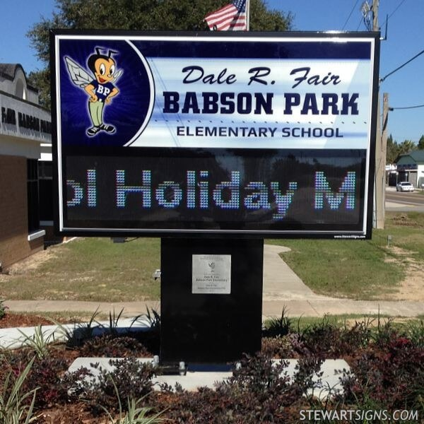 School Sign for Dale R. Fair Babson Park Elementary School